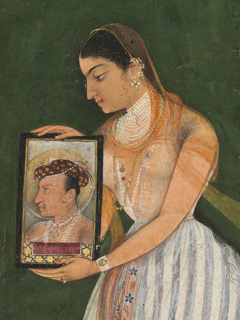 Нур-Джахан держит в руках портрет императора Джахангира, около 1627 года