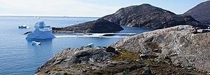 Nuussuaq - The gates to the inlet: Qallunaaq Arnaq (western spur) seen from Nuussuaq Heliport (eastern spur)