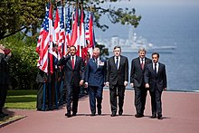 Obama, Prince Charles, Brown, Harper & Sarkozy at Normandy American Cemetery and Memorial 2009-06-06.JPG
