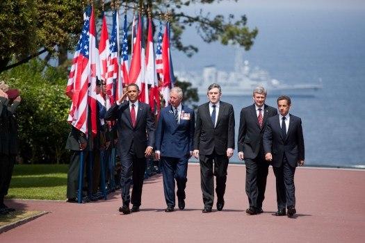Obama, Prince Charles, Brown, Harper & Sarkozy at Normandy American Cemetery and Memorial 2009-06-06