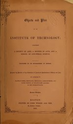 Objects and plan of an institute of technology;