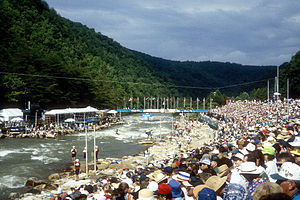 Ocoee Whitewater Center - Finish line for 1996 Olympics.  Midstream camera is mounted on the boulder in Humongous Rapid.