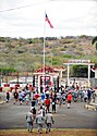 Off duty GIs, on a tour of the Guantanamo base, mingle just inside the gate to Cuba -b.jpg