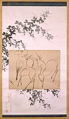 Preliminary Drawing of Three Deer Mounted on a Hanging-scroll Painting of Flowering Bush Clover