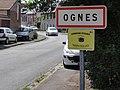 Ognes (Aisne) city limit sign.JPG