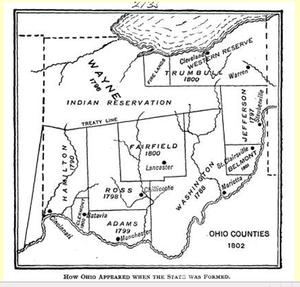 Ohio Constitutional Convention (1802) - Ohio Counties in 1802