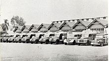 Line of old buses