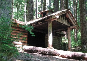 National Park Service rustic - Trail shelter at Sol Duc Falls, Olympic National Park