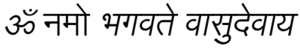 Om Namo Bhagavate Vasudevaya - Om Namo Bhagavate Vasudevaya in Devnagari, this Mantra is used for invocation and obeisance to Krishna