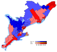 Map of the new ridings in Southern Ontario coloured in by using the transposition of the results of the 2003 election.