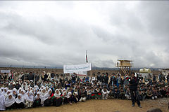 Local residents at the opening ceremony of an Afghan National Police (ANP) district headquarters in Ishtarlai district.