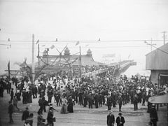 Opening day of the Pacific Electric line(?) at the Long Beach Pier, ca.1900-1902 (CHS-1989).jpg