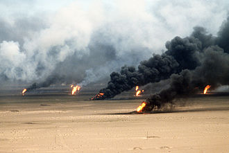 Aftermath of the Gulf War - Oil well fires rage outside Kuwait City in 1991