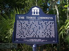 Sign at the site Ormond Beach 3 Chimneys marker01b.jpg