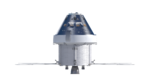Orthographic view of Orion spacecraft, front with solar panels (23164761431).png