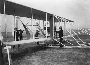 Wright Flyer - Orville Wright with a later Model A Flyer at Tempelhof Field in Berlin