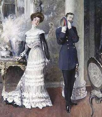 "Yawn - A soldier hides his yawn from his lady companion in this detail from a painting by Oscar Bluhm titled Ermüdende Konversation, or ""Wearisome conversation""."