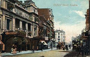 Oxford Music Hall - Facade of the Oxford Music Hall, 1918 postcard