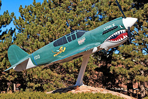 Peterson Air and Space Museum - P-40 Replica outside the entrance to the museum