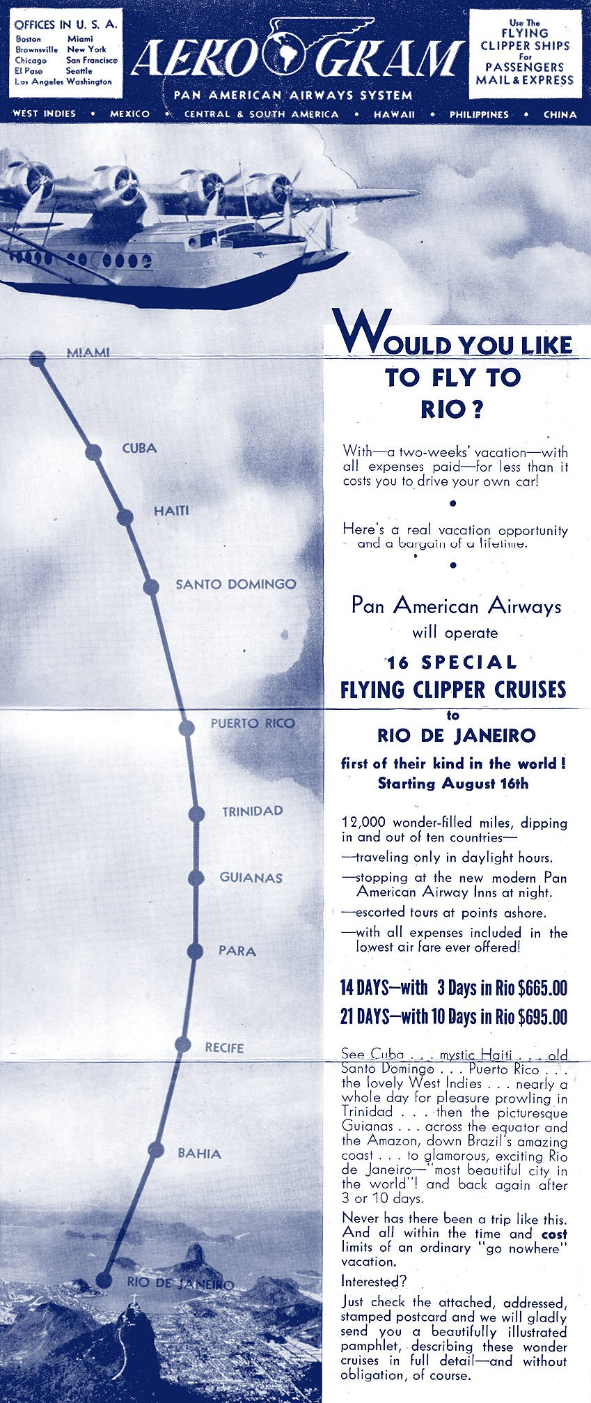 PAA Flying Clipper Cruises to South America 1941