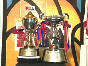 PBA Philippine Cup - The previous design of the All-Filipino Cup (right) used from 1994 to 2002 together with the FVR Centennial Trophy. Both trophies were awarded to the winner of the 1998 All-Filipino Cup Finals.