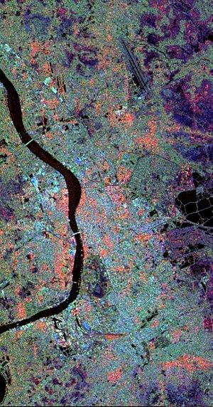 Geography of Kolkata - A satellite image of Kolkata showing land usage