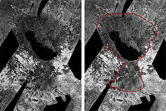Ontario Lacus - Radar image of Titan's south polar region, showing Ontario Lacus and surroundings. In the annotated version, the putative shoreline of a proposed former south polar sea of Titan is outlined.