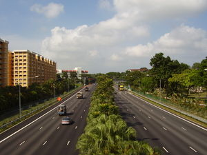 Pan Island Expressway - The PIE extension after Nanyang Flyover, looking towards Tuas.
