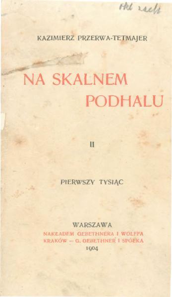 File:PL Kazimierz Przerwa-Tetmajer - Na Skalnem Podhalu T. 2.djvu