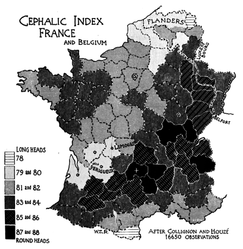 PSM V51 D305 Cephalic index of france and belgium.png