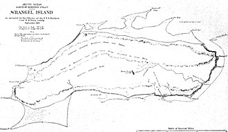 Wrangel Island - Map of Wrangel Island produced by the USS Rodgers Survey, as reproduced in John Muir's Cruise of the Corwin