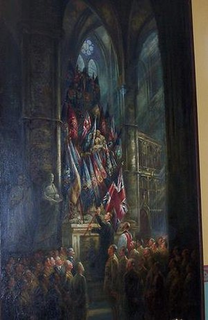 "Burials and memorials in Westminster Abbey - ""Placing the Canadian Colours on Gen. James Wolfe's Monument in Westminster Abbey"" by Emily Warren in Currie Hall at Royal Military College of Canada"
