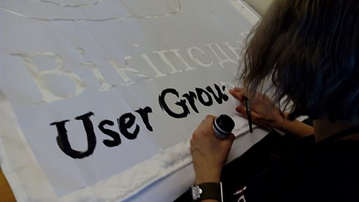 Painting the banner of Wikiletnik (Wikicamp) July, 2017