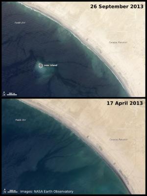 2013 Balochistan earthquakes - Satellite images of Zalzala Jazeera off the coast of Gwadar
