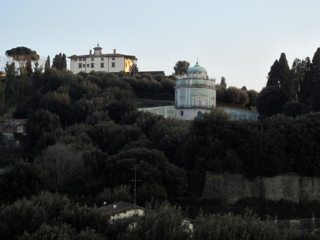 Firenze, Giardino del Bobolino, veduta della Kaffeehaus del Giardino di Boboli e Forte Belvedere