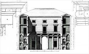 Palazzo Valmarana - Section (Ottavio Bertotti Scamozzi, 1776)