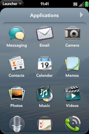 Palm webOS Launcher Screenshot