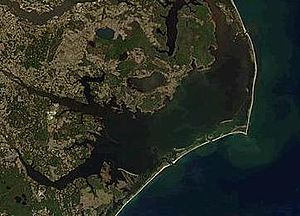 Pamlico Sound - Pamlico Sound with the southern Outer Banks. Orbital photo courtesy of NASA.