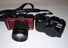 Panasonic Lumix DMC-GF1 and Canon PowerShot G11.jpg