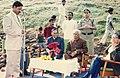 Pandit Ram Kishore Shukla and Motilal Vora at debriefing of officers at Bansagar Dam in 1986.jpg