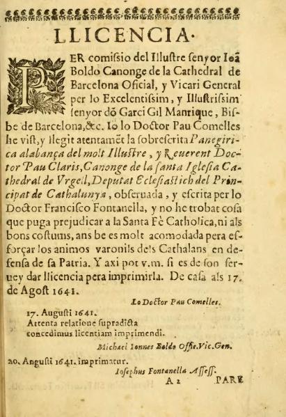 File:Panegirica alabança del molt illustre y reverent Doctor Pau Claris (1641).djvu
