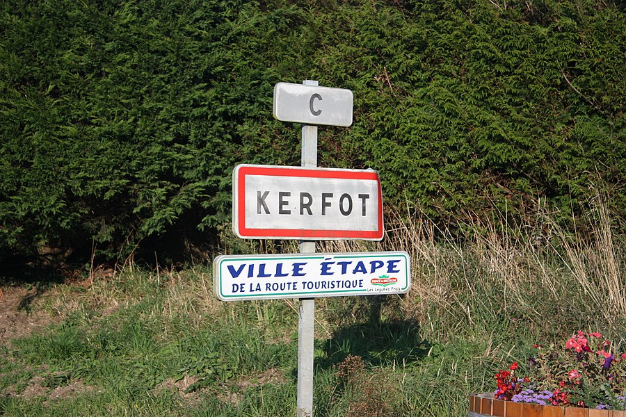 Panel entrance of the town of Kerfot (Côtes d'Armor, Brittany, France)