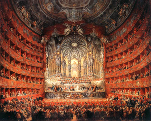 Musical feast given by the cardinal de La Rochefoucauld in the Teatro Argentina in Rome in 1747 on the occasion of the marriage of Dauphin, son of Louis XV