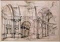 Paolo farinati, veduta di interni e caino che uccide abele da tintoretto, 1565-70 ca. 02.jpg