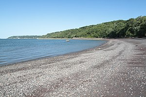 Cap-Rouge, Quebec City - The beach of Plage Jacques Cartier and the cliffs of Cap-Rouge