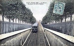 Paris Métro Line 2 - A metro car departing from Jaurès along the Boulevard de la Villette
