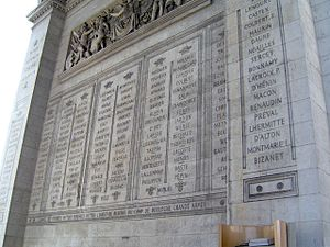 Names inscribed under the Arc de Triomphe - Image: Paris Arc de Triomphe inscriptions 6