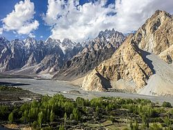 Tupopdan and the Hunza River, viewed from the Karakoram Highway in Passu