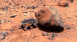 Ore resources on Mars - Pathfinder's Sojourner Rover is taking its Alpha Proton X-ray Spectrometer measurement of the Yogi Rock (NASA).  This instrument measured the elements in the rock.