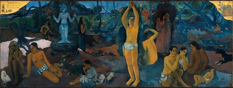 Where Do We Come From? What Are We? Where Are We Going?, one of Post-Impressionist Paul Gauguin's most famous paintings Paul Gauguin - D'ou venons-nous.jpg